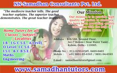 Samadhan Tutors provide highly qualified, professional, experienced Home tutors in Gurgaon for students of all reputed schools Visit: http://samadhantutors.com/tutors-in-gurgaon.asp Phone No. :  011-3293-6565, 6469-6465 Mobile :       +91 9891-93-6565 / 9891-94-6565