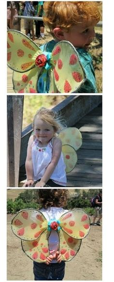 diy kids butterfly wings with wire hangers and stockings