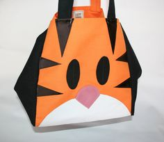 Happy shopping bag - Tiger // Canvas and leather