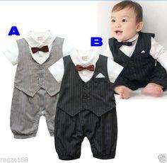 Baby-Boy-Tuxedo-Bow-Tie-Bodysuit-Christening-Wedding-Birthday-Outfit-Playsuit