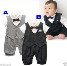 Baby-Boy-Tuxedo-Bow-Tie-Bodysuit-Christening-Wedding-Birthday-Outfit-Playsuit
