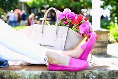 celine + flowers + pink shoes
