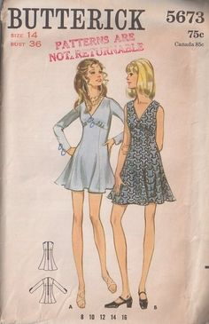 MOMSPatterns Vintage Sewing Patterns - Butterick 5673 Vintage 60's Sewing Pattern SASSY Mod Empire Waist Flip Dress, Flirty Flared Skirt, Micro or Mini