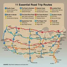Essential road trip routes from roadtrip usa.definitely on the bucket list Road Trip Usa, Usa Roadtrip, Route 66 Road Trip, East Coast Road Trip, Route 66 Map, College Road Trip, Usa Trip, Pacific Coast Highway, Travel Usa