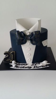 Shirt with bow tie, suit 21st cake.