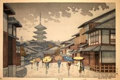 Yasaka Pagoda, 1954 - woodblock by Asano Takeji. http://www.jaodb.com/db/ItemLargeImage.asp?image=./Images/Asano_Takeji/Asano_Takeji-8_Views_of_Kinki-Yasaka_Pagoda-00032791-021013-F12.jpg