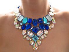Bright Blue Bib Necklace Clear Aurora by SparkleBeastDesign, For $32.99