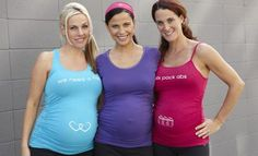 Very adorable - three girls and three baby bumps decked out in For Two Fitness! I just love pregnancy!