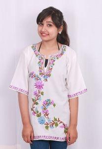 Whitecolor kurti  Kashmiri aari work embroidery  summer cool cotton fabric