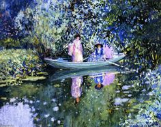 Frederick Carl Frieseke  - Grey Day on the River (also known as Two Ladies in a Boat),  (1874-1939, United States)