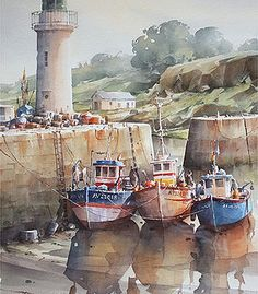 This image clearly demonstrates that watercolour can be used to both detail forms as well as vaguely represent them. Watercolor Artists, Watercolor Landscape, Watercolor Illustration, Watercolor Paintings, Watercolors, Lighthouse Painting, Boat Painting, Gouache Painting, Boat Drawing