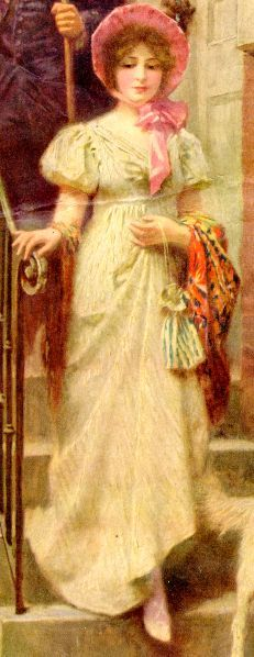 Genre painting depicting a Regency Miss with a lovely poke bonnet and Regency empire waist dress, shawl, and appropriate purse.