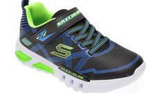 Pantofi sport SKECHERS negri, Flex-Glow, din material textil si piele ecologica