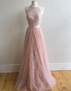 Cute halter prom dress,Pink tulle prom dress for teens
