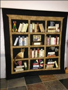 Joe and Amie's anniversary/wedding signature bookcase quilt; quilt made in 2013