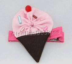 Pink and brown Ice Cream Hair Clip