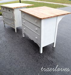 Old dressers turned into kitchen islands. Cute