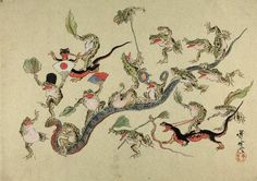 Kawanabe Kyosai. Frogs triumphing over snakes.