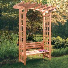 Arboria Astoria 7-ft. Cedar Pergola Arbor with Bench