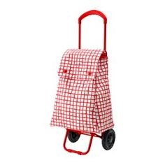 IKEA - KNALLA, Shopping bag on wheels, red/white, -, , The shopping bag and trolley are easy to store since they fold flat.You can easily find your…