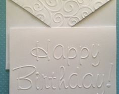 Birthday Greeting Cards, Birthday Greetings, Birthday Celebration, Card Making Tips, Card Making Techniques, Calligraphy Writing Styles, Embossing Techniques, Stationary Set, Envelope Art