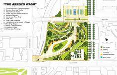 Concept Design for The Palisades Garden Walk & Town Square Project - City of Santa Monica Landscape Concept, Landscape Plans, Lanscape Design, Plaza Design, Parking Design, Garden Architecture, Public Garden, Design Language, Master Plan