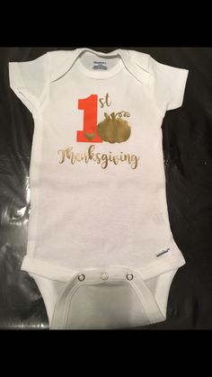 My first thanksgiving onesie, baby girl, baby shower, gobble Gobble turkey day, thankful