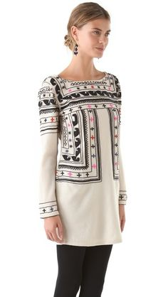Mara Hoffman Beaded Fitted Wool Dress.  I can imagine an Indian kurti like this!