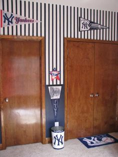 Baseball Room Cute Love The Stripes Would Be Super To Make Closet Look