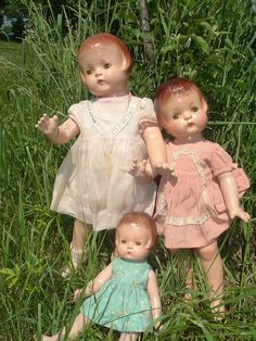 Dolls have always reflected the fashions and trends of their time in history.    This group of Patsy dolls at the left was made in the late 1920's and early   1930's.