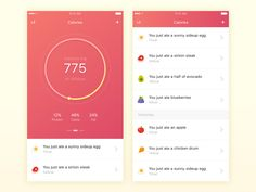 Health - Calorie Counter designed by Thomas Budiman for Hanno. Connect with them on Dribbble; Web Design, App Ui Design, Interface Design, User Interface, Health App, Health And Wellbeing, Calorie Counter App, Diet Apps, Mobile Ui Design