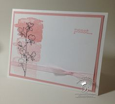Stampin' Up! Happy Watercolor stamp set, ghost stamping in Blushing Bride by #QueenBCreations #happywatercolor #stampinup