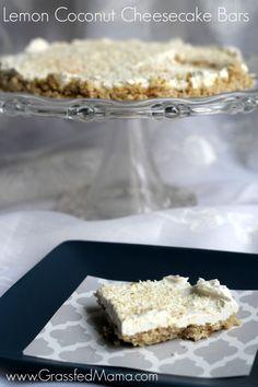 Do you love cheesecake? Try These No Bake Lemon Coconut Cheesecake Bars! They are Sugar Free, Grain Free & full of Yummmmm - Grassfed Mama