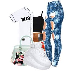 A fashion look from October 2014 featuring Topshop tops, NIKE sneakers and Furla handbags. Browse and shop related looks.