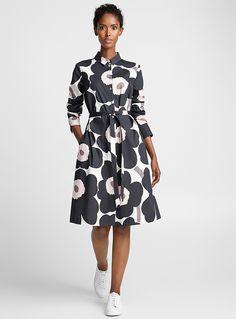 Trina Unikko shirtdress - Marimekko - Black and White Dot Dress, Shirt Dress, Nice Dresses, Dresses For Work, Button Up Dress, Colourful Outfits, Fashion Outfits, Womens Fashion, Woman Clothing