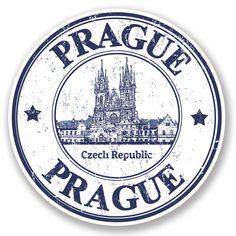 2 x Prague Czech Republic Vinyl Sticker Decal iPad Travel Luggage Tag Gift