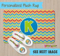 Personalized Chevron Rug - Personalized Plush Rug - Personalized Nursery Rug - Children Rug - Nursery Chevron Rug - Rainbow Bedroom