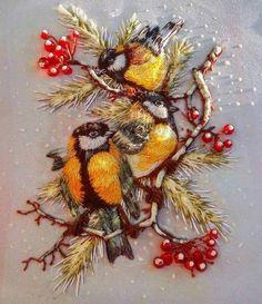 oiseaux brodés embroidery birds