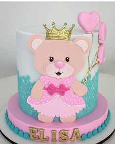 No hay descripción de la foto disponible. Owl Cake Birthday, 1st Birthday Cake For Girls, Sweet Cakes, Cute Cakes, Pastel Mickey, Charlotte Cake, Buttercream Flower Cake, Ballerina Cakes, Baby Girl Cakes