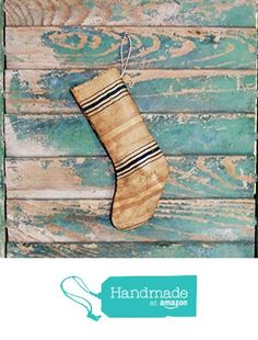Small Primitive Stocking Ornament - made from antique ticking from Prairie Primitives Folk Art http://www.amazon.com/dp/B016V1YT4Y/ref=hnd_sw_r_pi_dp_PU6jwb0S0YDGD #handmadeatamazon
