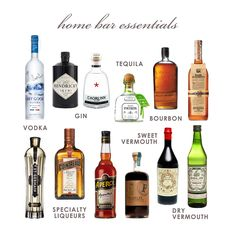 my home bar essentials - I would swap some of these that are on the pricey side but for the most part spot on.