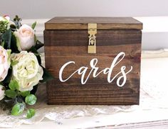 "This card box is perfect for your wedding cards and even to use in your home to decorate with. It comes with ""cards"" hand painted on the front, and a locking li"