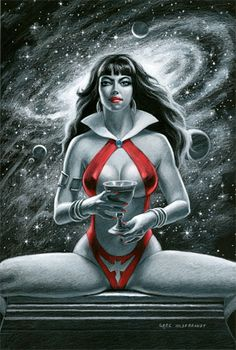 Vampirella 'Black Board' by Greg Hildebrandt Comic Book Artists, Comic Book Characters, Fictional Characters, Fantasy Women, Fantasy Art, Poison Ivy Batman, Red Sonja, Horror Comics, Adam And Eve