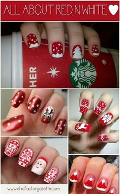 All about red & white - fun DIY Christmas nail art designs Holiday Nail Art, Christmas Nail Designs, Christmas Nail Art, Define Christmas, Funny Christmas, Christmas Holidays, White Christmas, Christmas Ideas, Christmas Inspiration