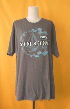 Volcom Skateboard T Shirt Gray Vintage 90s Signature Pattern Streetwear Cotton Print Designer Crew Neck Size Large Shirt by InPersona on Etsy