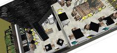 Bar Estilo Industrial | O ambiente foi analisado e projetado para utilizar o máximo aproveitamento do espaço, atendendo conjuntamente ao conforto do clientes, fluxos de garçons e usuários e, otimização dos benefícios para os proprietários do estabelecimento.