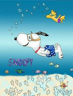 Snoopy and Woodstock swimming
