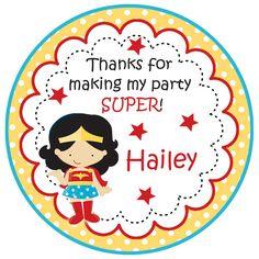 girl superhero birthday stickers - supergirl stickers - girl superhero birthday party --