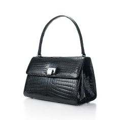 Maddie lunch box handbag in onyx crocodile. More colors available. | Tiffany & Co.