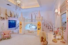 The custom woodwork in this princess room is out of this world.